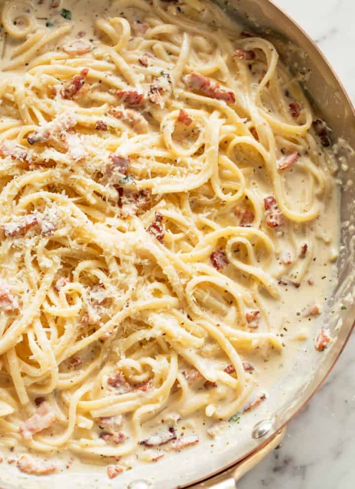 Creamy Bacon Alfredo in a silver pan | craveitall.com